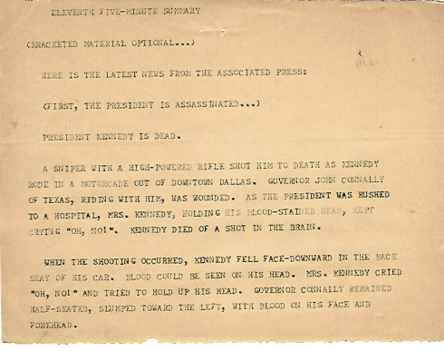Leading news story 5 p.m. 11/22/1963